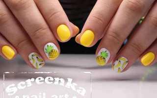 Маникюр желтый с бананами: маникюр, фото дизайна ногтей