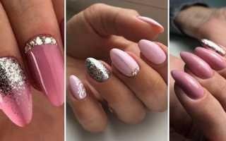 Маникюр с блестками розовый: маникюр, фото дизайна ногтей