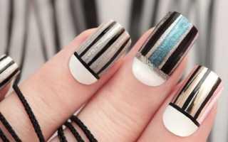 Маникюр яркими полосками: маникюр, фото дизайна ногтей