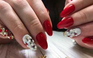 Восхитительный красный с белым и объемный дизайн: маникюр, фото дизайна ногтей