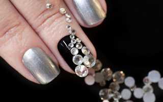 Черный с серебром матовый педикюр: маникюр, фото дизайна ногтей
