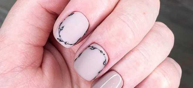Весенний чёрно-белый маникюр из веточек: маникюр, фото дизайна ногтей