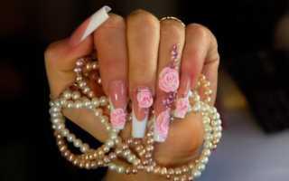 Черный френч и лепка на длинных ногтях: маникюр, фото дизайна ногтей
