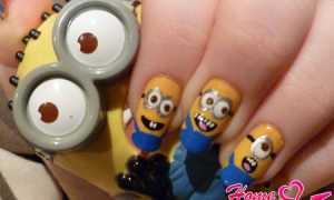 Веселые миньоны в желтом маникюре: маникюр, фото дизайна ногтей