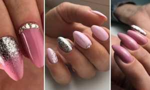 Розовый маникюр с серебром: маникюр, фото дизайна ногтей