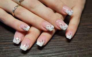 Розовый шеллак-маникюр с френчем: маникюр, фото дизайна ногтей