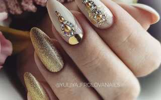 Драгоценное золото на длинных ногтях: маникюр, фото дизайна ногтей