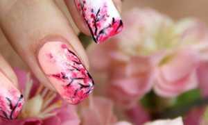 Цветущая сакура в розовом маникюре: маникюр, фото дизайна ногтей