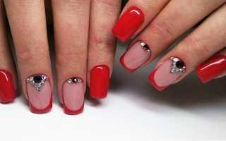 Красный френч с серым красивым узором: маникюр, фото дизайна ногтей