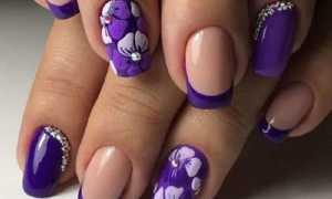Темно-фиолетовый блестящий гель-лак: маникюр, фото дизайна ногтей