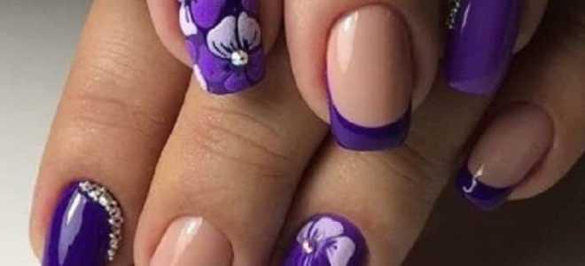 Цветы и френч в фиолетовом маникюре: маникюр, фото дизайна ногтей