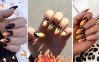 Всполохи огня в маникюре: маникюр, фото дизайна ногтей