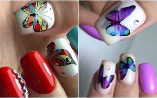 Бабочки из страз для летнего маникюра: маникюр, фото дизайна ногтей