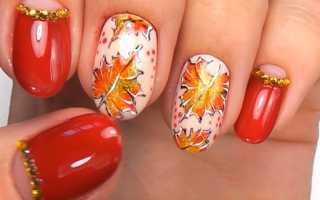Осенний маникюр с опавшими листьями: маникюр, фото дизайна ногтей