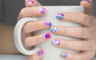 Водный маникюр с контрастными разводами: маникюр, фото дизайна ногтей